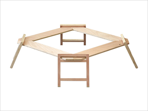 WOODEN PANEL HEARTH TABLE 囲炉裏テーブル