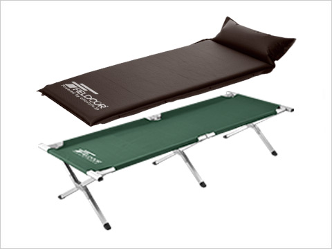OUTDOOR COT+INFLATABLE MAT WITH PILLOW(S) アウトドアコット+枕付き車中泊マット(S)セット