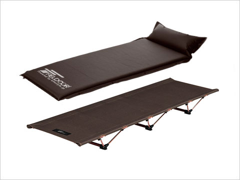 ALUMINUM COMPACT COT+INFLATABLE MAT WITH PILLOW(S) アルミコンパクトコット+枕付き車中泊マット(S)セット